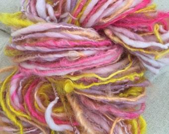 Art Yarn Handspun, Bulky Textured - TROPICAL FRUIT - crochet, knit, weaving, craft supplies, doll hair, 56yds