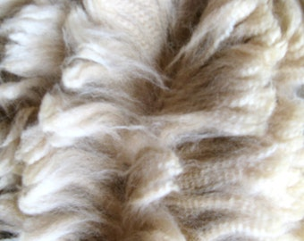 Alpaca Fleece - Beige - Soft and Crimpy - Raw and Unwashed Fiber- 12 ounces - Vito ( Baby - 20 microns ) - for Spinning, Felting, Dyeing