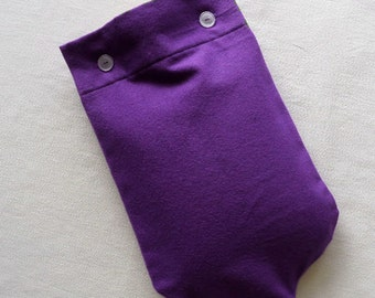 Last one - Deep Purple Flannel Hot Water Bottle Cover with Pink Heart Applique, or plain