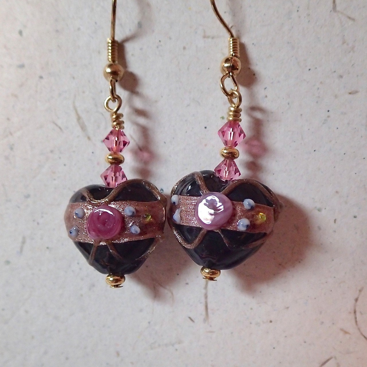 Black Glass Bead Heart Wedding Cake Earrings with Rose by