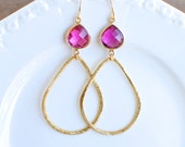 Ruby Quartz with Brushed Gold Teardrop. Bridesmaids Earrings.