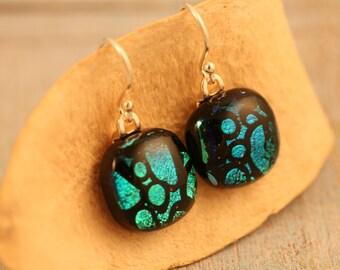 Dichroic earrings No. 166