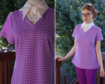 GINGHAM 1960's 70's Vintage Purple + White Polyester Shirt with White Pointed Collar // size Medium