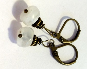 Dainty Natural White MOONSTONE Gemstone Bronze Leverback Brass Dangle Earrings