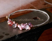 Pretty in Pink - Strung-Out guitar string bangle with gemstones