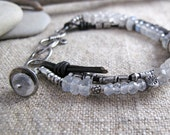 Rainbow Moonstone with Fine Silver and knotted Leather Bracelet