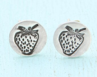 STRAWBERRY earrings, eco-friendly silver studs.  Handcrafted by artisan Chocolate and Steel fruit studs tiny drawing of strawberries