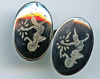 Sterling Earrings Niello Siam Thailand Ovals Screw Back Silver Etched 9817