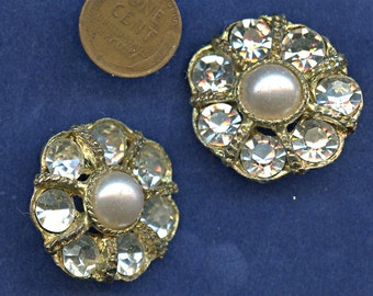 Pair of Rhinestone Pearl Large Buttons Matching Vintage Metal Floral Shape 1 1/4 inch size 9930