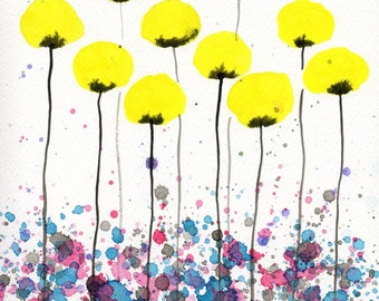 Watercolor Painting: Watercolor Flower Painting -- Art Print --  Warm Breeze -- Yellow Flowers -- 14X18