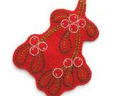 Embroidered Mistletoe Ornament, felt Christmas decoration