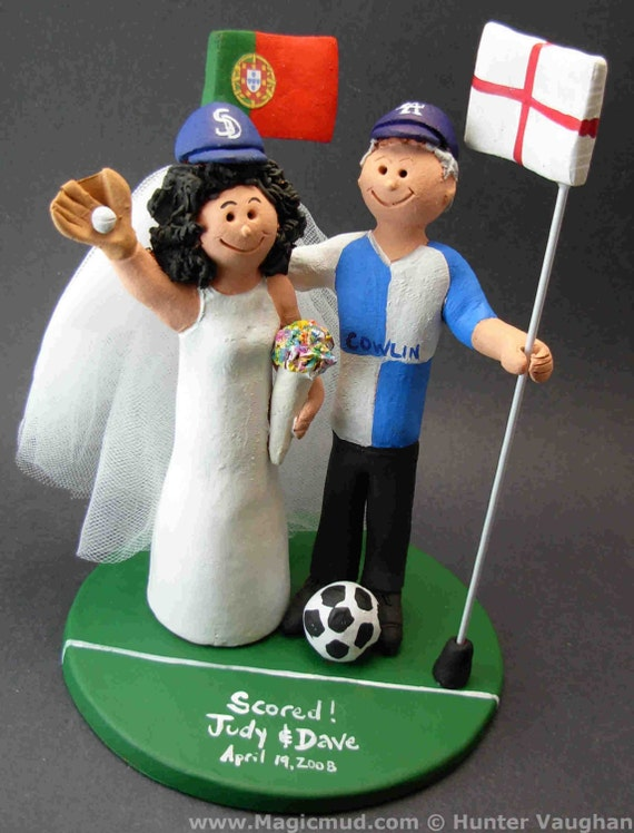 SabbysPlace32 - Soccer Wedding Cake Topper, Soccer Bride and Groom ...
