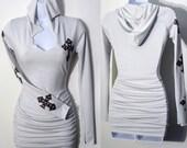 Gothic Crosses Hoodie Dress/Tunic Top - XS