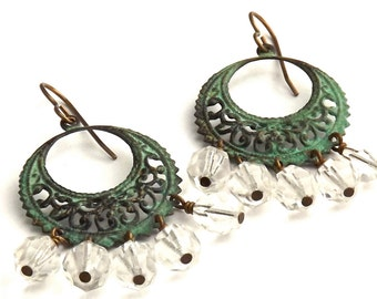 Verdigris Brass Filigree and Crystal Earrings