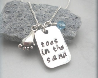 Toes in the Sand Necklace, Beach Jewelry, Beach Necklace, Sterling Silver, Handstamped, Summer Necklace, Ocean Lover, Love the Beach (SN868)
