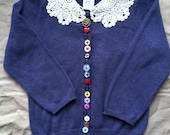 SALE Embellished Blue Cardigan Sweater Lace and Buttons Peter Pan Collar 12m 18m