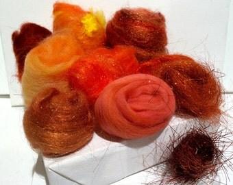 Orange Fiber Art kit Sampler, wool, Orange Angelina firestar glitz, Needle Wet Felting Spinning, pumpkin orange, tangerine palette, 1 oz