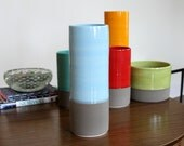 SALE  Ceramic Cylinder Vase in Blue and Matte Warm Grey - Colorblock Porcelain Vase
