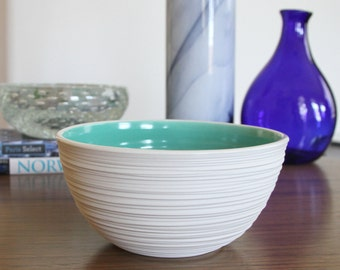Discounted Turquoise Bowl - Porcelain Groove Bowl in Turquoise - second