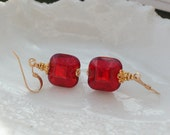 Red Beveled Venetian Murano Earrings