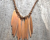 Bronze Spike Necklace Dagger Charm Long Bib Necklace 1970s Boho