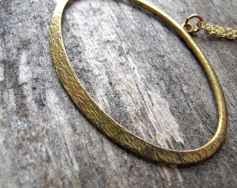 Brass Pendant Necklace - Oval Brass Charm - Simple Minimalist Jewelry - Rustic Charm Gold Chain
