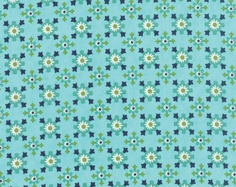 """1 yard and 17"""" piece/remnant - SALE - Daysail - Harbor in Aqua Blue: sku 55103-12 cotton quilting fabric by Bonnie and Camille for Moda"""