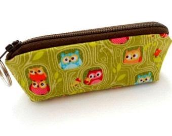 Mini Key Chain Zipper Pouch ECO Friendly Padded Lip Balm Case Green Hideout Owls