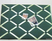 Kelly Green Memory Board French Memo Board, Fabric Ribbon Memo Bulletin Board, Fabric Pin Board, Fabric Ribbon Message Board, Bedroom Decor
