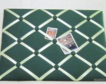 Kelly Green Memory Board French Memo Board, Fabric Ribbon Memo Bulletin Board, Fabric Pin Board, Fabric Ribbon Message Board, Bedroom Decor