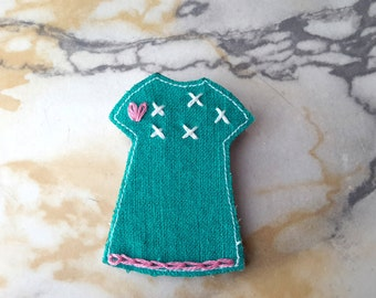 Turquoise Embroidered Mini Dress Brooch Women's Handmade Accessories