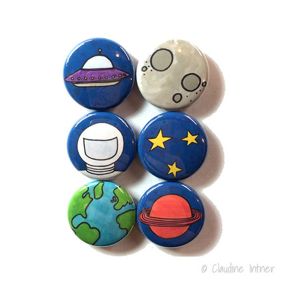 Outer Space Magnets Or Pinback Buttons Fridge Magnet By