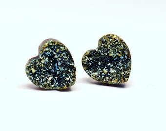 Green Blue Druzy Heart Stud Earrings Metallic Love Bold Genuine Titanium Drusy Quartz Gemstone Jewelry Women Sterling Silver Posts Wedding
