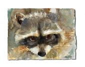 animal art | ORIGINAL watercolor painting of a Raccoon | Woodland Creatures