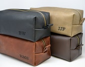 Personalized Leather Toiletry Kit with Free Initials and Optional Interior Message Great Gift for Him