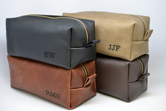 Personalized Leather Toiletry Kit with Custom Initials and Optional Custom Lining Great Christmas Gift for Man