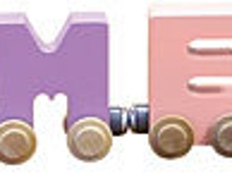 Children's Wooden Name Train (6 Letters): Primary or Pastel Colors