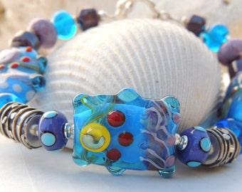 MOONBEAM Handmade Lampwork Bead Bracelet
