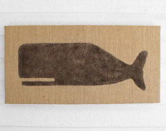 Cachalot Whale  - 12 x 24 Burlap over Cork Message Board, Pin Board, Memo Board, Bulletin Board - Nautical Design