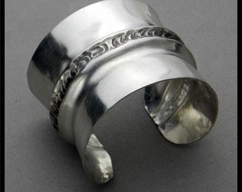 KYRA - Handforged Foldformed Antiqued Wide Pewter Cuff Bracelet
