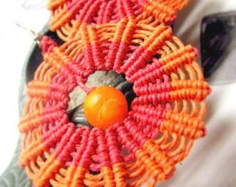 Orange and Red Medallion Hemp Earrings