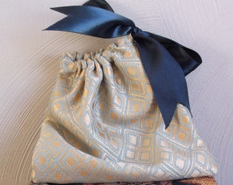 Gift Bag  Gold and Teal Brocade with Black Satin Ribbon