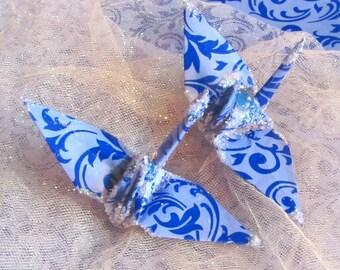 Bonnie Raitt Peace Crane Bird,  Wedding Cake Topper,  Party Favor Origami Christmas Ornament Blue Anniversary Place Card Holder Decoration