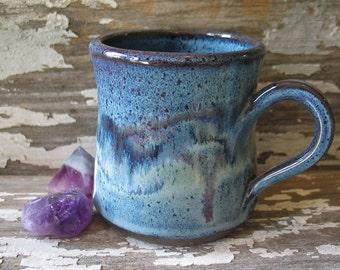 Handmade Pottery Mug - Watercolor Blue - Violet - Sage Green - Amethyst - Stoneware Mug - Coffee Cup - Tea - MADE TO ORDER