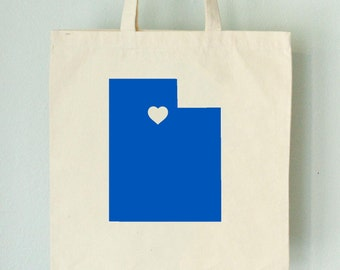 SALE Utah LOVE Tote SALT Lake City royal blue state silhouette with heart on natural bag