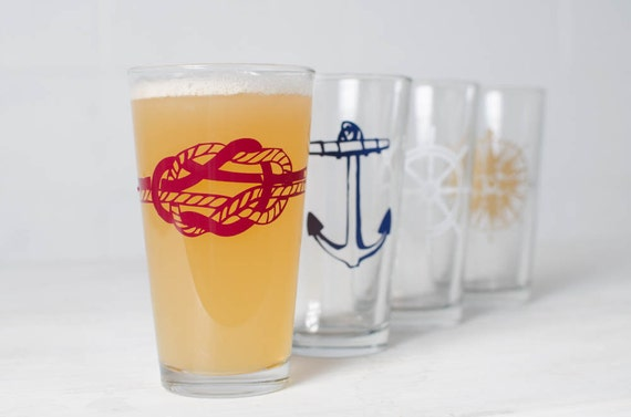 The Nautical set - 4 screen printed pint glasses, gold, burgundy, white and blue