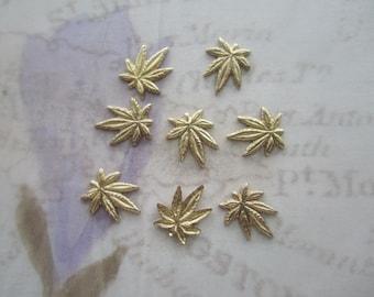 Cannabis Marijuana Leaf Tiny Brass Stamping NO RING on Etsy x 8