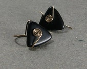 Black Triangle Earrings Geometric Jewelry Gold Filled Earrings Matte Bead Earrings Gold Earrings