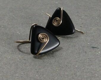 Black Triangle Earrings Geometric Jewelry Gold Filled Matte Black Gold Earrings