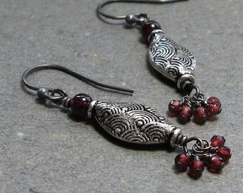 Garnet Earrings January Birthstone Earrings Textured Sterling Silver Cluster Bead Earrings Oxidized Earrings